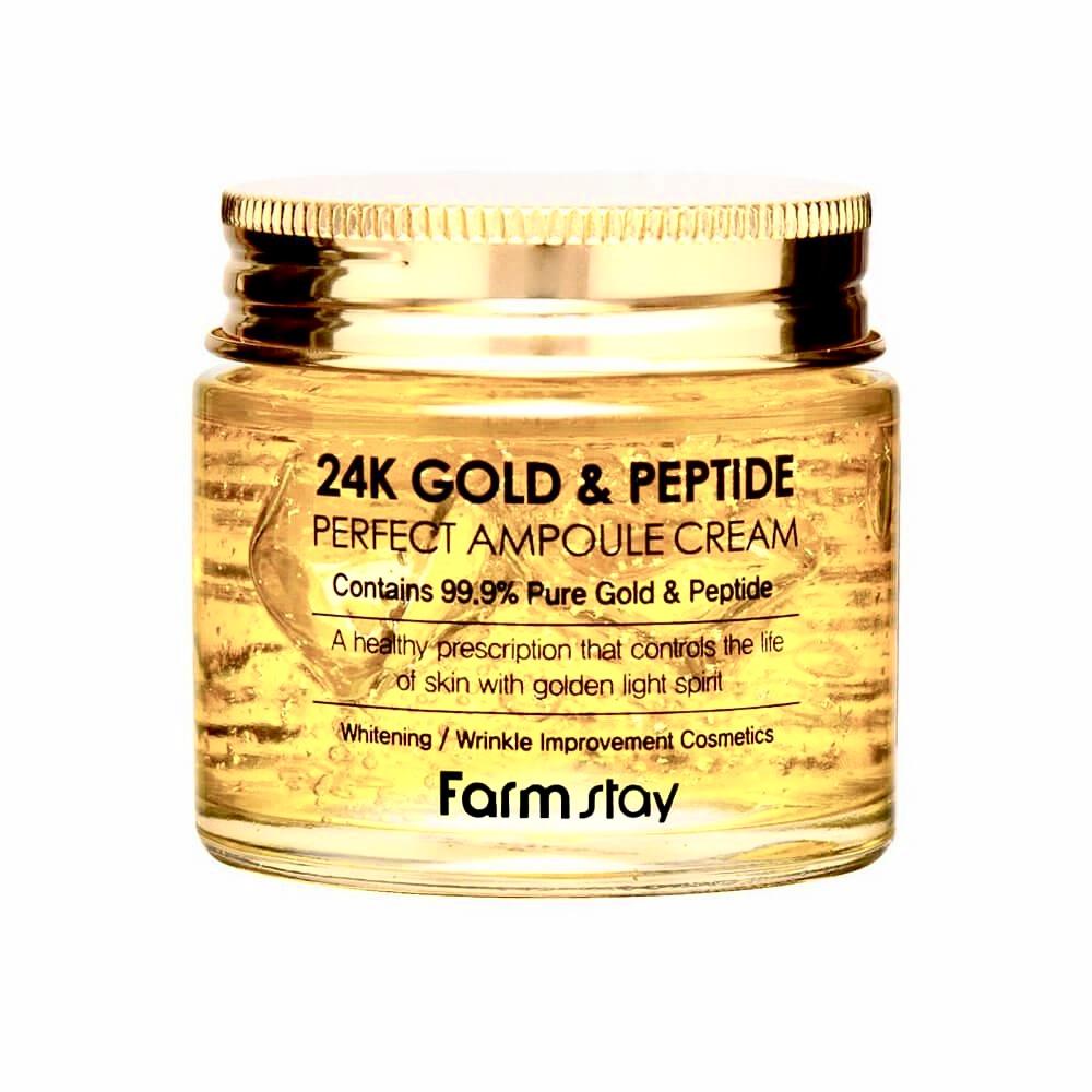 Пептидный крем для лица с биозолотом FARMSTAY 24K GOLD & PEPTIDE PERFECT AMPOULE CREAM - 80 мл