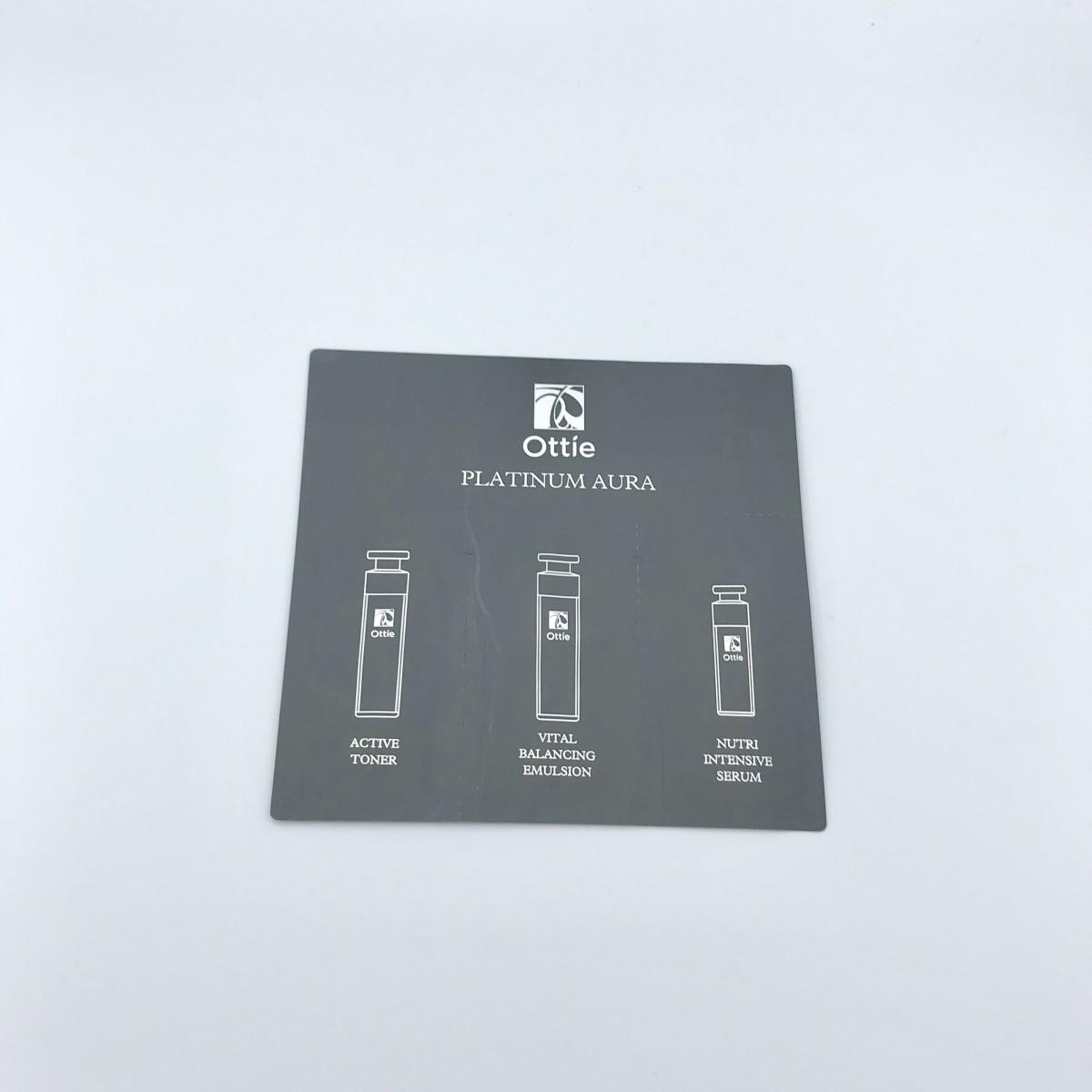 Пробник 3 в 1 антивозрастной тонер, эмульсия, сыворотка с платиной Ottie Platinum Aura