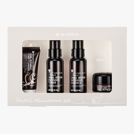 Набор мини-версий средств для лица с улиткой Mizon Snail Miniature Set (Foam Cleanser+Toner+Essence+Cream) - 4 шт.