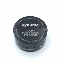 Патчі для очей з золотом і чорними перлами Ayoume GOLD + BLACK PEARL EYE PATCH - 60 шт.