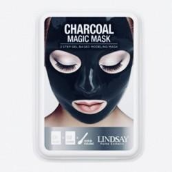 Альгинатная маска для лица с черным углем Lindsay Luxury Aqua Charcoal Magic Mask - 65 г+15 г
