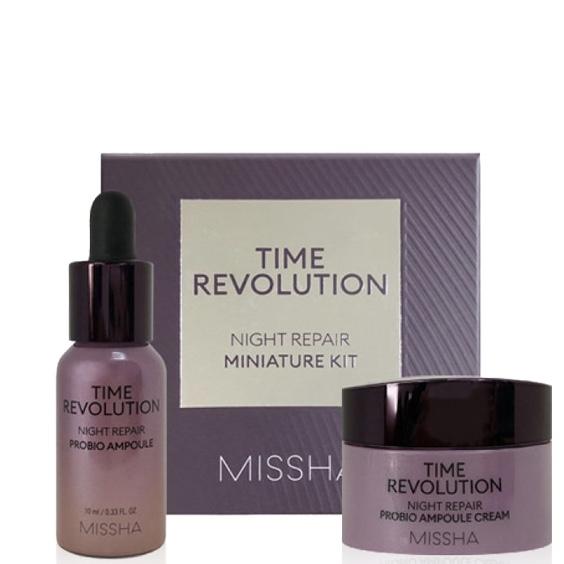 Набор пробников омолаживающих ночных средств для лица сыворотка+крем Missha Time Revolution Night Repair 2 pcs Kit - 10+7 мл