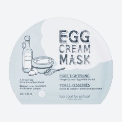 Тканинна маска для звуження пор TOO COOL FOR SCHOOL EGG CREAM MASK PORE TIGHTENING - 28 г