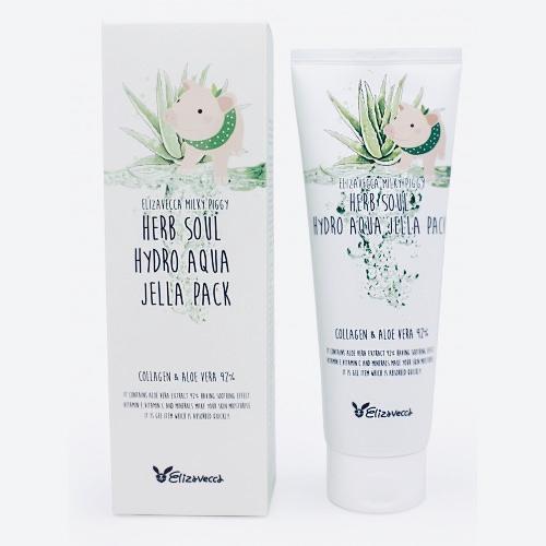 Многофункциональная маска с алоэ и коллагеном ELIZAVECCA Milky Piggy Herb Soul Hydro Aqua Jella Pack - 250 мл
