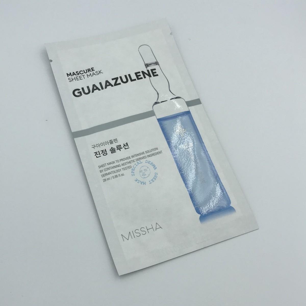 Тканевая маска для лица успокаивающая MISSHA MASCURE CALMING SOLUTION SHEET MASK GUAIAZULENE - 27 мл