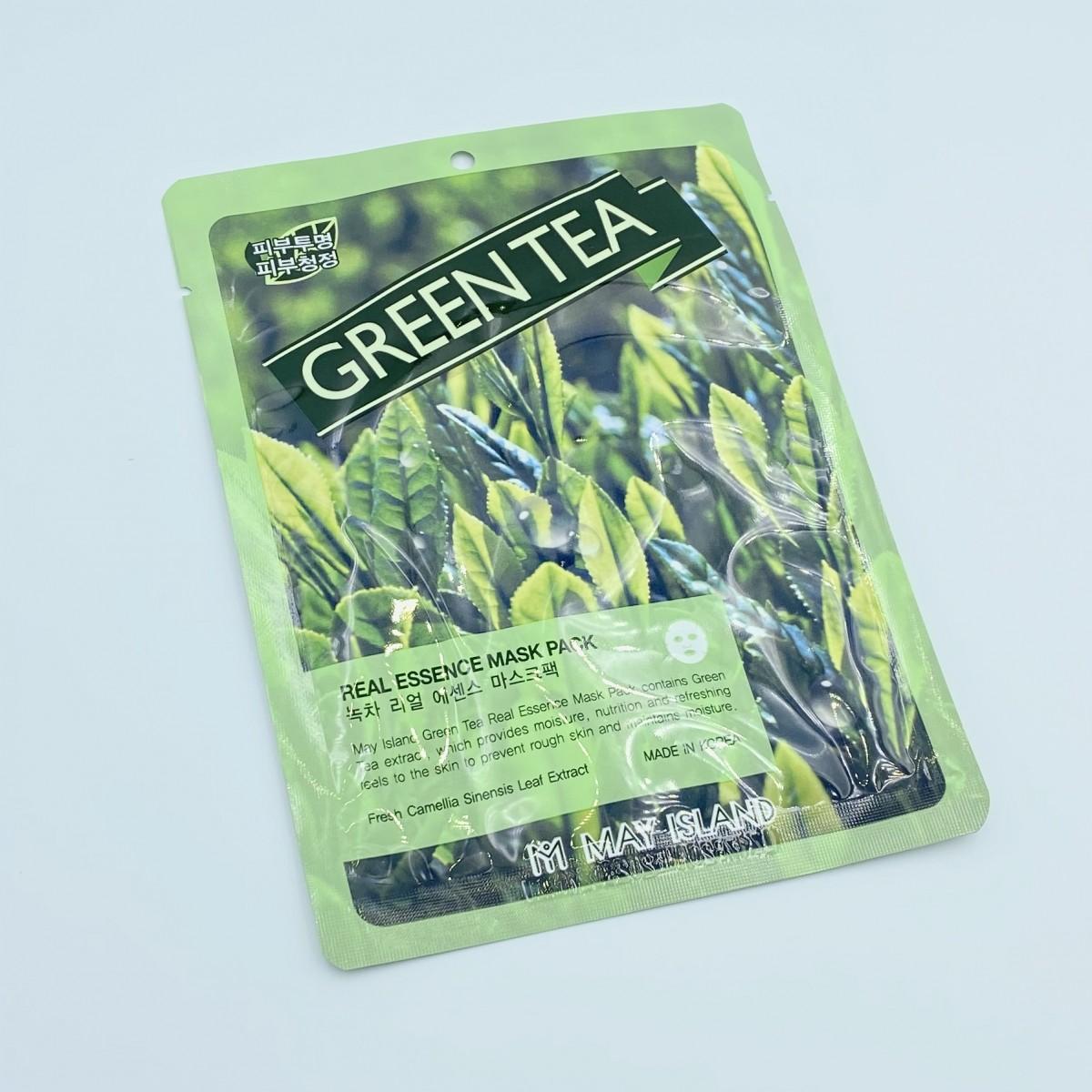 Тканевая маска с зеленым чаем May Island Real Essence Green Tea Mask Pack - 25 г