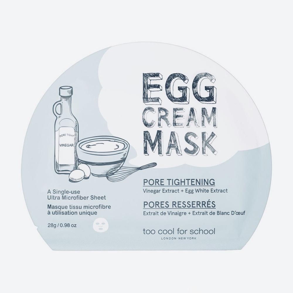 Тканевая маска для сужения пор TOO COOL FOR SCHOOL EGG CREAM MASK PORE TIGHTENING - 28 г